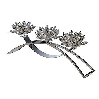Contemporary Lotus Shaped Glass Candle Holder with Metal Base, Silver