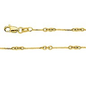 14k Yellow Gold .8mm Twisted Bar Cable Chain Ankle Bracelet Lobster Claw Closure 10 Inch Jewelry Gifts for Women