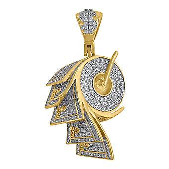 925 Sterling ezüst sárga hang férfi kerek CZ cubic cirkónia szimulált Diamond Money Roll Cluster Divat Medál Neckla