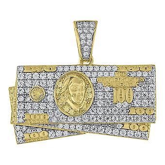 925スターリングシルバーイエロートーンCZキュービックジルコニアシミュレートダイヤモンド100ドルビル現金メンズペンダントネックレスジュエリーG
