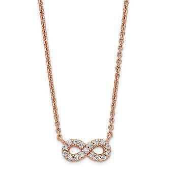 925 Sterling Silver Rose ton CZ Cubic Zirconia Simulerad Diamond Infinity Halsband 16,5 tums smycken gåvor för kvinnor