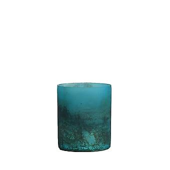 Light & Living Tealight 8x9cm - Valerio Matted Blue-Half Black