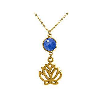 GEMSHINE Ketting Lotus Flower Blue Sapphire Zilver of Verguld gemaakt in Spanje