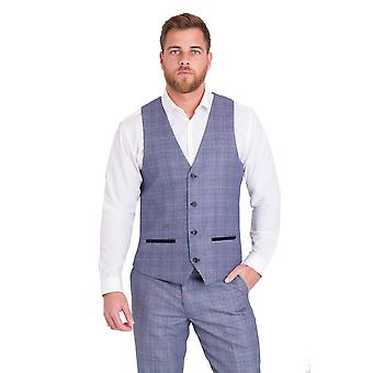 Marc Darcy Harry Blue Check Tweed Vest