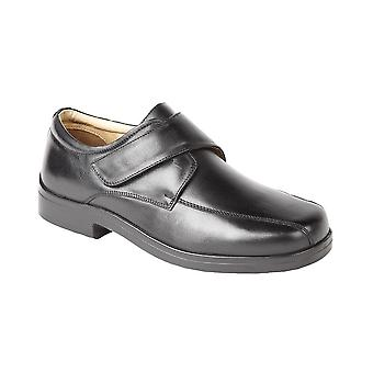 Roamers Black Softie Leather Xxx Extra Wide Touch Fastening Tramline Casual Shoe