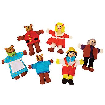 Bigjigs Brinquedos Goldilocks Pano Hand Finger Puppets Set