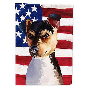 Brazilian Terrier Dog American Flag Flag Garden Size
