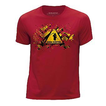 STUFF4 Boy's Round Neck T-Shirt/Splat/Hazard/Grim Reaper/Red