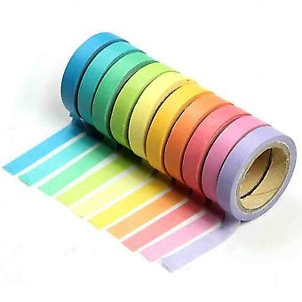 10x Decorative Rainbow Tape Paper Washi Masking Tape Diy Tape