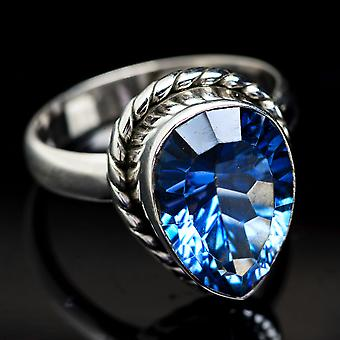 Blue Mystic Topaz Ring Size 8 (925 Sterling Silver)  - Handmade Boho Vintage Jewelry RING3696