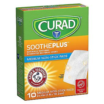 Curad sootheplus, medium non-stick puder, 3 tommer x 4 tommer, 10 ea