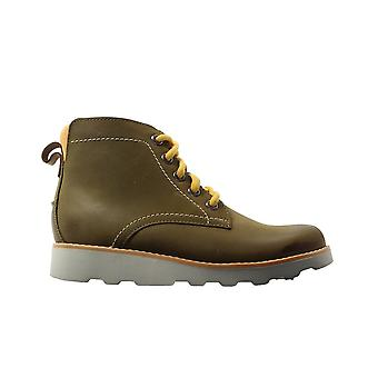 Clarks Crown Hike Kids Tan Leather Boys Lace/Zip Up Ankle Boots
