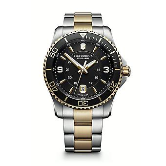 Victorinox Swiss Army 241824 Maverick Large Black Dial And Two Tone Stainless Steel Men's Watch