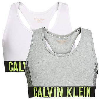 Calvin Klein Girls 2 Pack Intense Power Bralette, Grey / White, Age 14-16