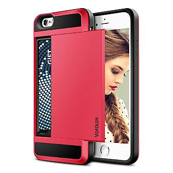 VOFOLEN iPhone SE (2020) - Wallet Card Slot Cover Case Case Business Red