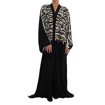Dolce & Gabbana schwarz Zebra Kaftan Abaya Cape Seide Kleid--DR13935792