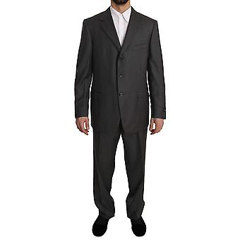 Z ZEGNA Gray Solid 2 Piece 3 Button Wool Suit -- KOS1134512