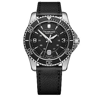 Victorinox Swiss Army Maverick Black Dial Black Leather Strap Men's Watch 241862