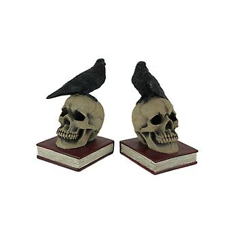 Evil Omen Raven On Skull Perch Decorative Bookend Set