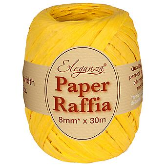 Yellow 8mm x 30m Paper Raffia Roll - Recyclable & Biodegradable