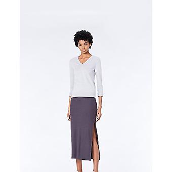 MERAKI Women's Cotton V Neck Sweater,  (Light Grey), EU M (US 8)