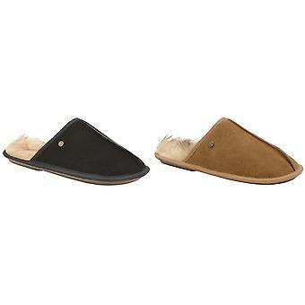 Dunlop Mens Lister pelliccia sintetica fodera in camoscio mulo Pantofole