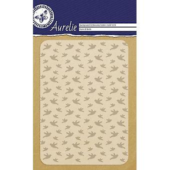 Aurelie Flock av fåglar Bakgrund Prägling Mapp