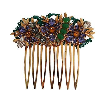 Dolce & Gabbana Gold Crystal Floral Fly Hair Comb SMY1135