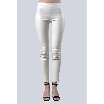 Sam-rone Women's White Leather Leggings
