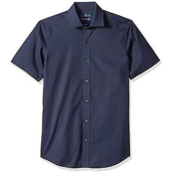 "BUTTONED DOWN Men's Tailored Fit Stretch Spread-Collar Short-Sleeve Non-Iron Shirt, Navy, 15.5"" Neck"