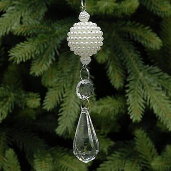 Opknoping ornament met Pearl Ball en Clear Hangant - 12cm