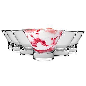 "Bormioli Rocco Ypsilon Ice Cream Dessert Bowl Set - 130mm (5"") - Pakke med 6"