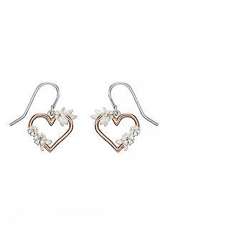 Elementos prata recife floral rosa brincos de ouro e5504
