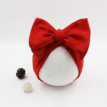 Autumn Winter Solid Color Hats For Baby Girls - Big Bow Turban For Newborn