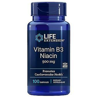 تمديد الحياة فيتامين B3 النياسين، 500 ملغ، 100 قبعات