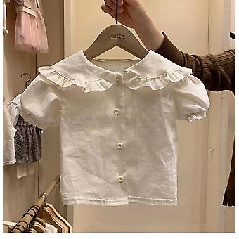 Stylish Shirt,  Turn-down Collar Puff Sleeve Kids Blouse