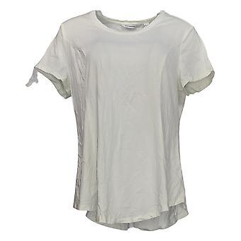 Isaac Mizrahi Live! Dames's Top Short Sleeve Peplum White A305241