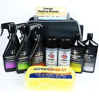 Autosmart car cleaning kit full valet pack car care wash polish sponge shampooo