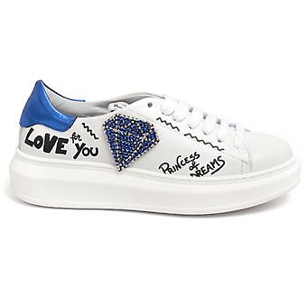 Gio+ Bianche Sneakers With Strass Dimante And Writing