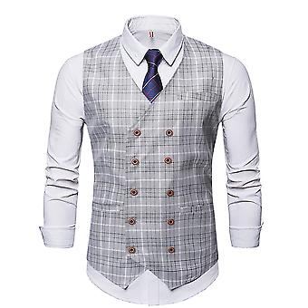 YANGFAN Mens Double-Breasted Houndstooth Suit Vest Slim Fit Casual V Neck Waistcoat