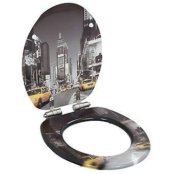 vidaXL toilet seat with soft-close lid MDF New York Design