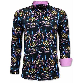 Colorful Shirts - 3070 - Pink Black