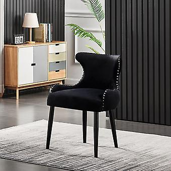 Oliver Lux Velvet Dining Chair Black