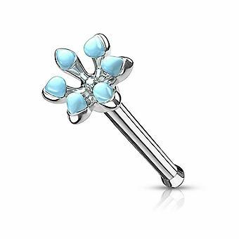 Pierścień z kością nosową z emalią z kwiatem szkliwa stal chirurgiczna 20ga