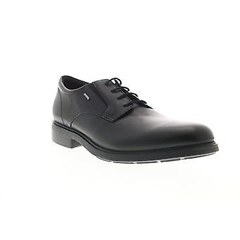 Geox U Dublin Np Abx B Mens Black Leather Oxfords & Lace Ups Plain Toe Shoes