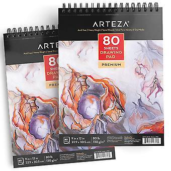 """Arteza 9""""x12"""" tapis à dessin 2 pack, 160 pages au total, deux livres de dessin d'artistes en spirale, 80 feuilles"""