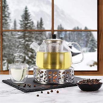 Stainless Steel Tea Warmer, Round Tea Maker Candle Base, Tea Warmer (silver)