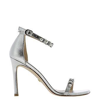 Stuart Weitzman Amelinalaaslv Women's Silver Leather Sandals