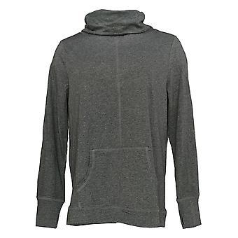 Chiunque donna top accogliente maglia cappuccio collo pullover W / Tasca grigio A367671