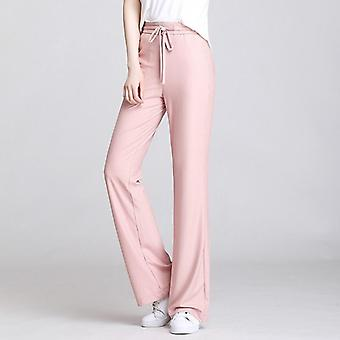 Summer High Waist Solid Color Casual Pants, Loose Trousers